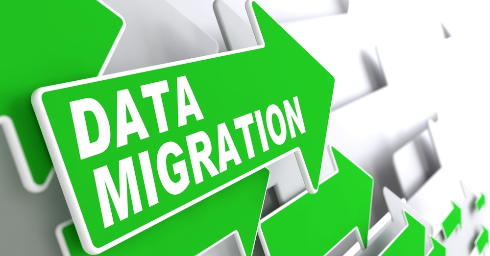 Data Migration. Green Arrows on a Grey Background Indicate the Direction.
